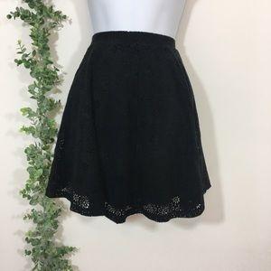 Altar'd state black laser cut skater skirt